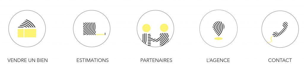 Les bulles highlights créées pour l'agence immobilière Jérôme Baille Immobilier à Marseille