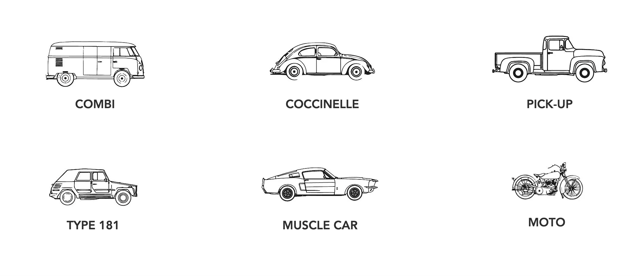 Les différentes iconographies créées par BOlectif dans le cadre de la création du site internet automobile de l'entreprise Cactus Collection.